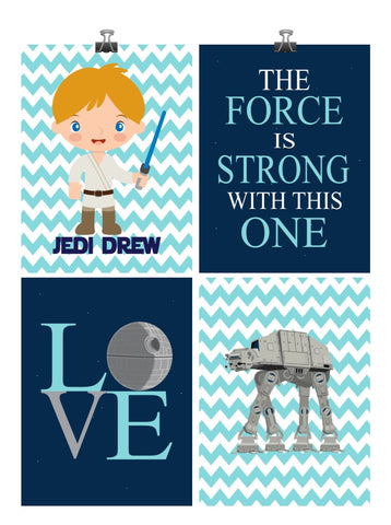 Personalized Star Wars Nursery Decor Set of 4 Art Prints - The Force Is Strong With This One, Love AT AT and Luke Skywalker