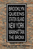 New York City Boroughs Subway Sign Print - Brooklyn, Queens, Manhattan, The Bronx, Staten Island