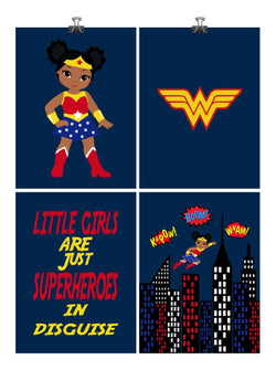 African American Wonder Woman Superhero Nursery Art Print Set of 4 - Little Girls Are Just Superheroes In Disguise