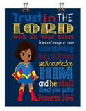 African American Supergirl Christian Superhero Nursery Decor Art Print - Trust in the Lord with all your heart - Proverbs 3:5-6