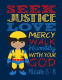African American Christian Superhero Nursery Print Set of 4 - Ironman, Flash, Wolverine and Captain America with Bible Verses