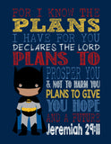 African American Batman Christian Superhero Nursery Decor Art Print - For I Know The Plans - Jeremiah 29:11