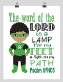African American Green Lantern Christian Superhero Nursery Decor Wall Art - The word of the Lord is a Lamp for my Feet