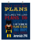 Batgirl Superhero Christian Nursery Decor Art Print - For I Know The Plans I Have For You - Jeremiah 29:11