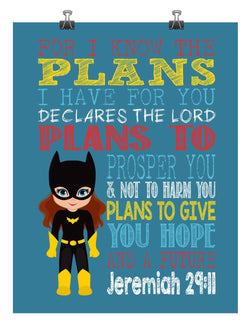 Batgirl Superhero Christian Nursery Decor Print - For I Know The Plans I Have For You - Jeremiah 29:11