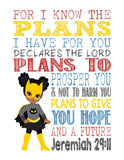 African American Catgirl Superhero Christian Nursery Decor Art Print - For I Know The Plans I Have For You - Jeremiah 29:11