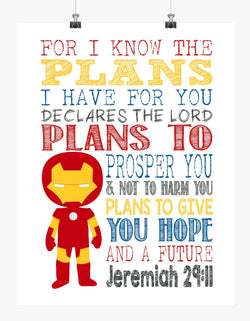 Ironman Superhero Christian Nursery Decor Print - For I Know The Plans I Have For You - Jeremiah 29:11