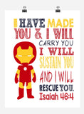 Ironman Christian Superhero Nursery Decor Wall Art Print - I have made you and I will rescue you - Isaiah 46:4