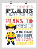 Wolverine Superhero Christian Nursery Decor Art Print - For I Know The Plans I Have For You - Jeremiah 29:11