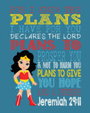African American Wonder Woman Superhero Christian Nursery Decor Art Print - For I Know The Plans I Have For You - Jeremiah 29:11