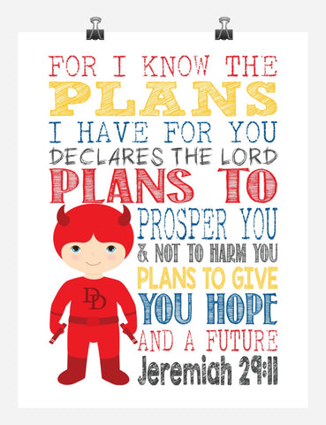 Daredevil Superhero Christian Nursery Decor Art Print - For I Know The Plans I Have For You - Jeremiah 29:11
