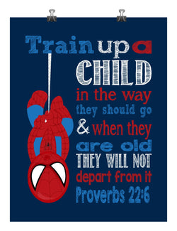 Spiderman Christian Superhero Nursery Decor Art Print - Train Up A Child In The Way They Should Go Proverbs 22:6
