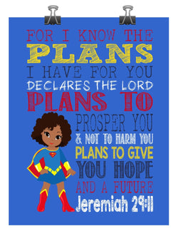 African American Supergirl Christian Superhero Nursery Decor Art Print - For I Know The Plans I Have For You - Jeremiah 29:11