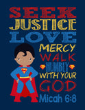 African American Christian Superhero Nursery Print Set of 4 - Batman, Captain America, Superman and Spiderman - Multiple Sizes