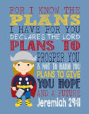 Thor Superhero Christian Nursery Decor Art Print - For I Know The Plans I Have For You - Jeremiah 29:11