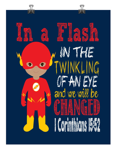 African American Flash Christian Superhero Nursery Wall Art Print - In a Flash in the Twinkling of an eye - 1 Corinthians 15:52