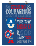 Captain America Superhero Christian Nursery Decor Print - Be Strong & Courageous Joshua 1:9