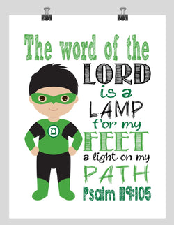 Green Lantern Christian Superhero  Nursery Decor Wall Art - The word of the Lord is a Lamp for my Feet - Bible Verse - Scripture Print