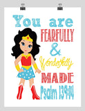 Wonder Woman Superhero Christian Nursery Decor Print - You Are Fearfully & Wonderfully Made Psalm 139:14