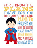 Superman Superhero Christian Nursery Decor Art Print - For I Know The Plans I Have For You - Jeremiah 29:11