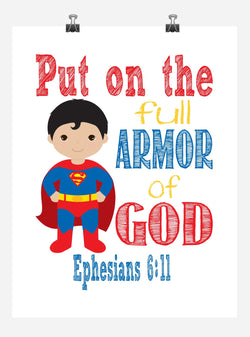 Superman Superhero Christian Nursery Decor Art Print - Put on the full Armor of God - Ephesians 6:11