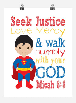 Superman Superhero Christian Nursery Decor Print - Seek Justice Love Mercy - Micah 6:8