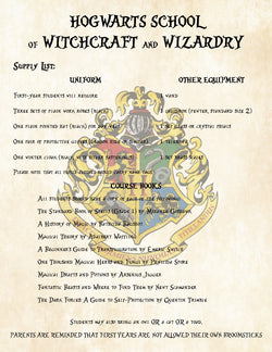 Harry Potter First Year Supply List for Hogwarts School of Witchcraft and Wizardry - Perfect Add on to Acceptance Letter
