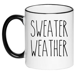 Sweater Weather Farmhouse Mug Rae Dunn Inspired Coffee Cup, Gift for Her, Farmhouse Decor, Tea, Hot Chocolate, 11 Ounce Ceramic Mug