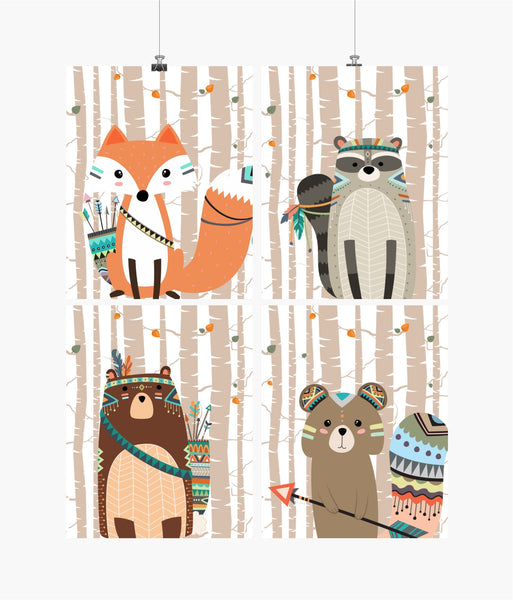 Tribal Boho Woodland Nursery with Birch Tree Background Set of 4 Prints