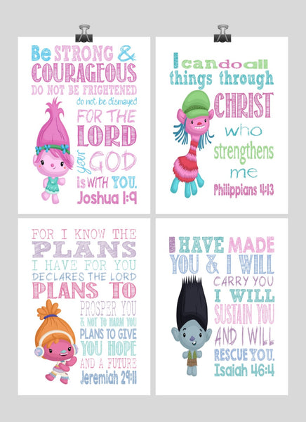 Trolls Christian Nursery Decor Set of 4 Prints, Poppy, Dj Suki, Cooper and Branch with Bible Verses