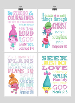 Trolls Christian Nursery Art Set of 4 Prints - Poppy, Dj Suki, Cooper and Smidge