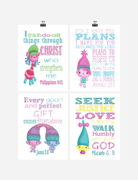 Trolls Christian Nursery Decor Set of 4 Prints, Poppy, Cooper, Satin, Chenille and Smidge with Bible Verses
