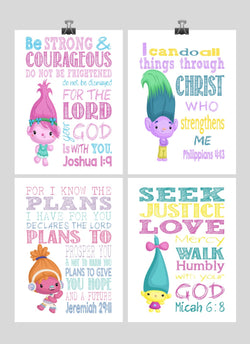 Trolls Christian Nursery Decor Set of 4 Prints, Poppy, Dj Suki, Creek and Smidge with Bible Verses