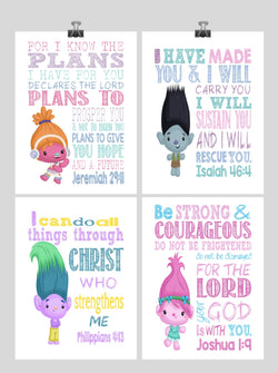 Trolls Christian Nursery Art Set of 4 Prints - Poppy, Dj Suki, Creek and Branch