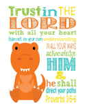 Dinosaur Christian Nursery Decor Set of 4 - Tyrannosaurus Rex, Plesiosaur, Woolly Mammoth, and Pterodactyl