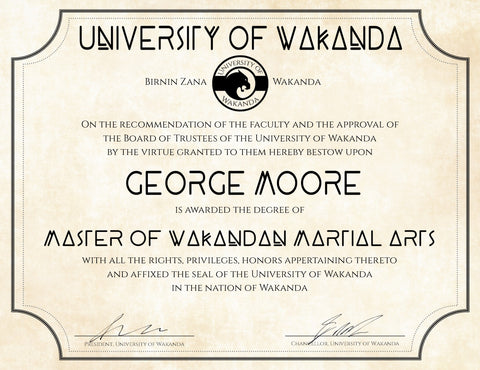 "University of Wakanda Diploma 8.5"" x 11"" on Parchment Paper"