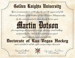 "Vegas Golden Knights Ultimate Hockey Fan Personalized Diploma - 8.5""x11"""