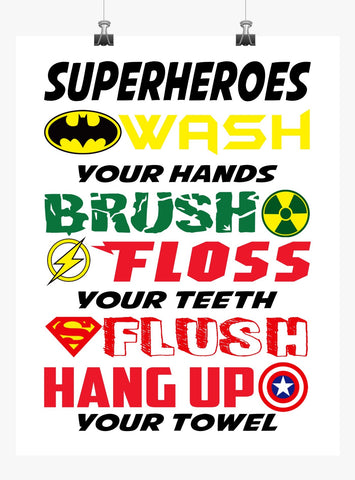 Superhero Wash Brush Floss Flush Bathroom Print with Batman, Hulk, Captain America & Superman