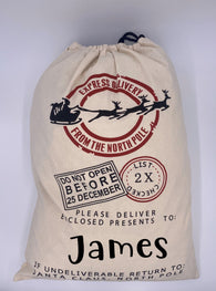 Personalized Santa Sack in Natural Canvas with Santa's Sleigh From the North Pole Presents Bag