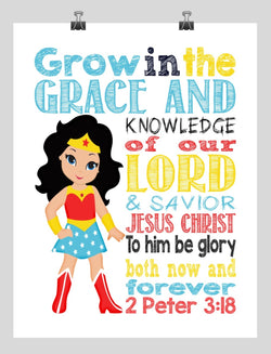 Wonder Woman Superhero Christian Nursery Decor Print - Grow in Grace and Knowledge - 2 Peter 3:18