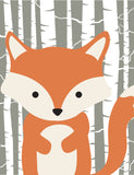 Woodland Animals with Birch Tree Background Nursery Art Set of 4 Prints - Bear, Squirrel, Deer and Fox