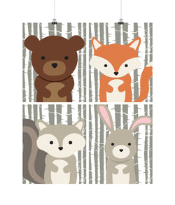 Woodland Animals with Birch Tree Background Nursery Art Set of 4 Prints - Bear, Squirrel, Rabbit and Fox