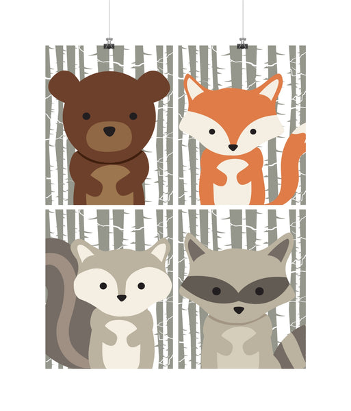 Woodland Animals with Birch Tree Background Nursery Art Set of 4 Prints - Bear, Raccoon, Squirrel and Fox