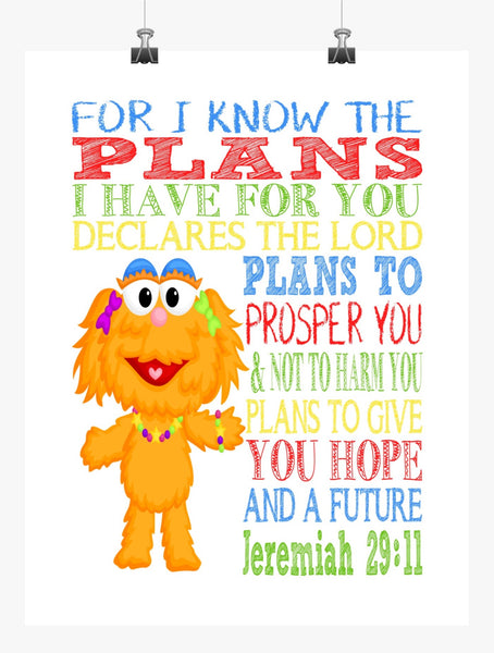 Zoe Sesame Street Christian Nursery Decor Print, For I Know The Plans I Have For You, Jeremiah 29:11