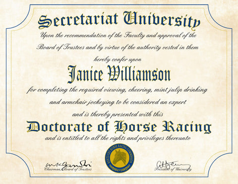 "Secretariat University Ultimate Racing Fan Personalized Diploma - Perfect Gift - 8.5"" x 11"" Parchment Paper"