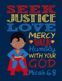 African American Christian Superhero Nursery Decor Art Print Set of 4 -Batman, Captain America, Superman and Spiderman
