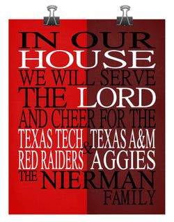 A House Divided - Texas Tech Red Raiders and Texas A&M Aggies Personalized Family Name Christian Print