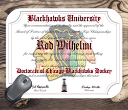 Chicago Blackhawks Ultimate Hockey Fan Personalized Diploma Mouse Pad