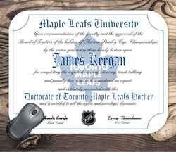 Toronto Maple Leafs Ultimate Hockey Fan Personalized Diploma Mouse Pad