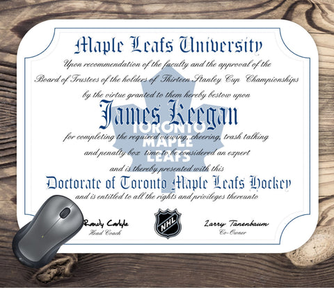 Toronto Maple Leafs Ultimate Hockey Fan Personalized Diploma - Mouse Pad - Perfect Gift